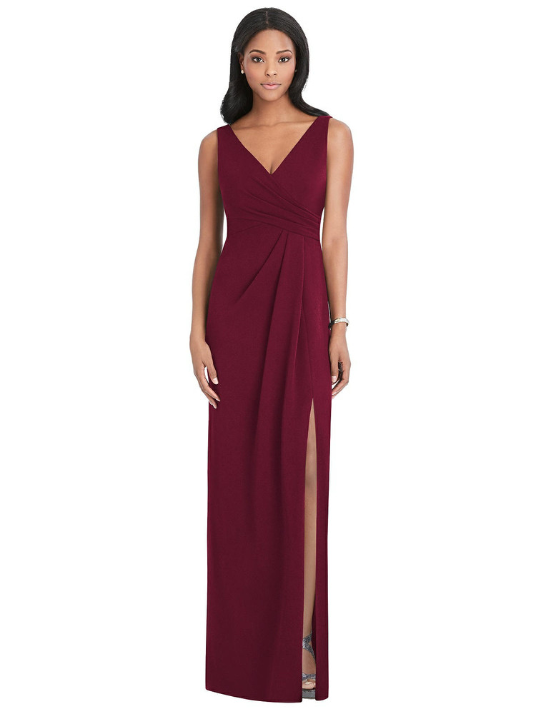 Draped Wrap Maxi Dress with Front Slit - Sena Thread Bridesmaid Style TH036/6799 in 7 colors in cabernet