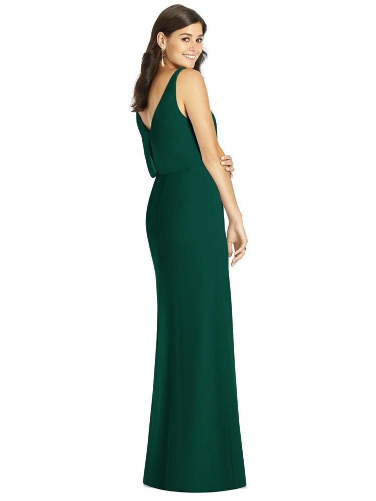 Blouson Bodice Mermaid Dress with Front Slit Thread Bridesmaid Style TH006
