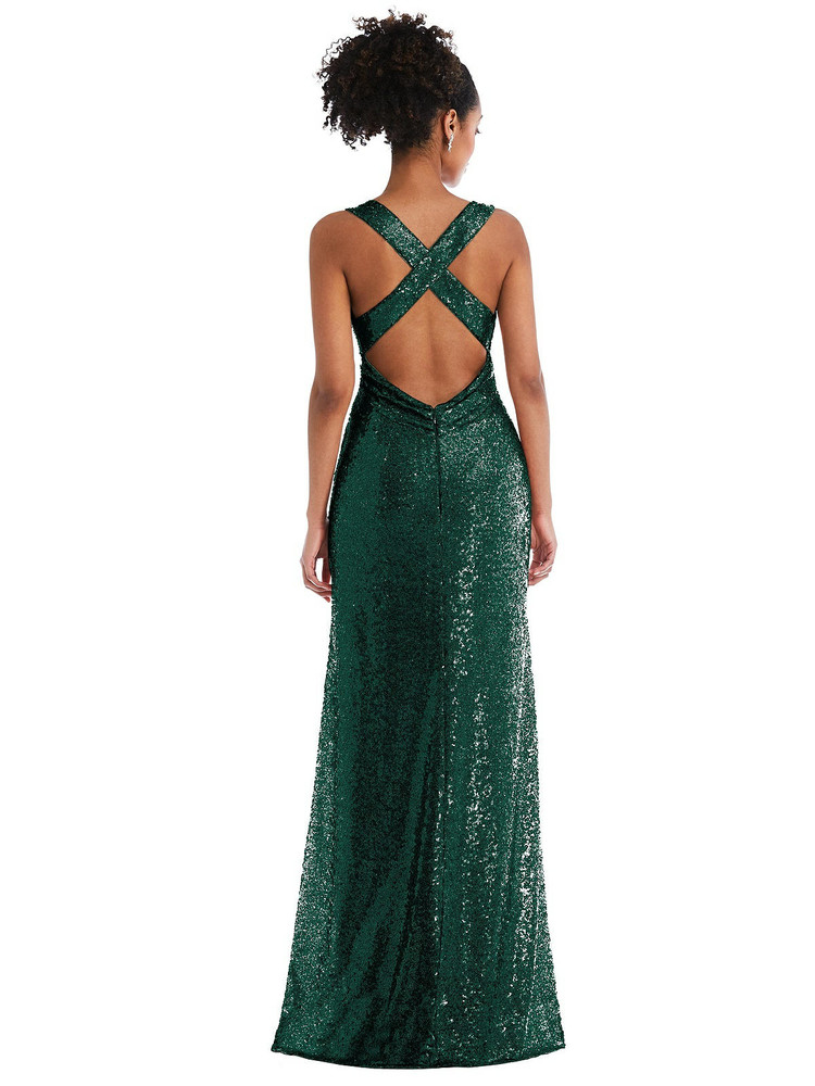 Open-Neck Criss Cross Back Sequin Maxi Dress by Thread Bridesmaid Style TH081 in 7 colors