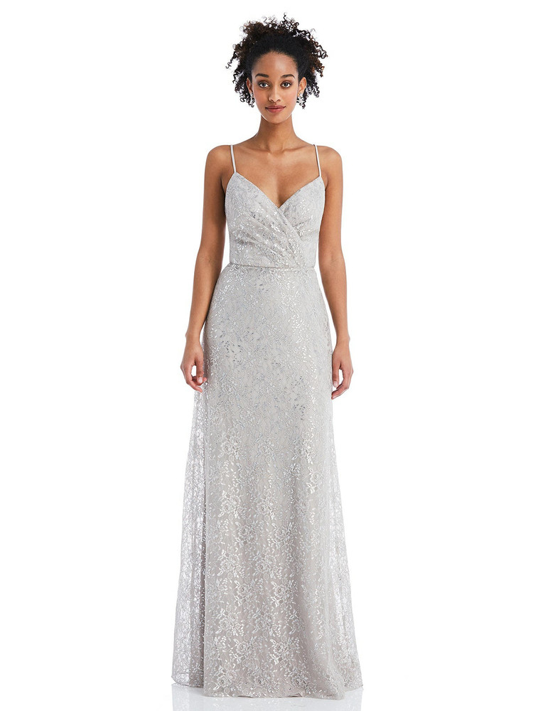 Draped Wrap Bodice Metallic Lace Maxi Dress by Thread Bridesmaid Style TH060 in 2 colors