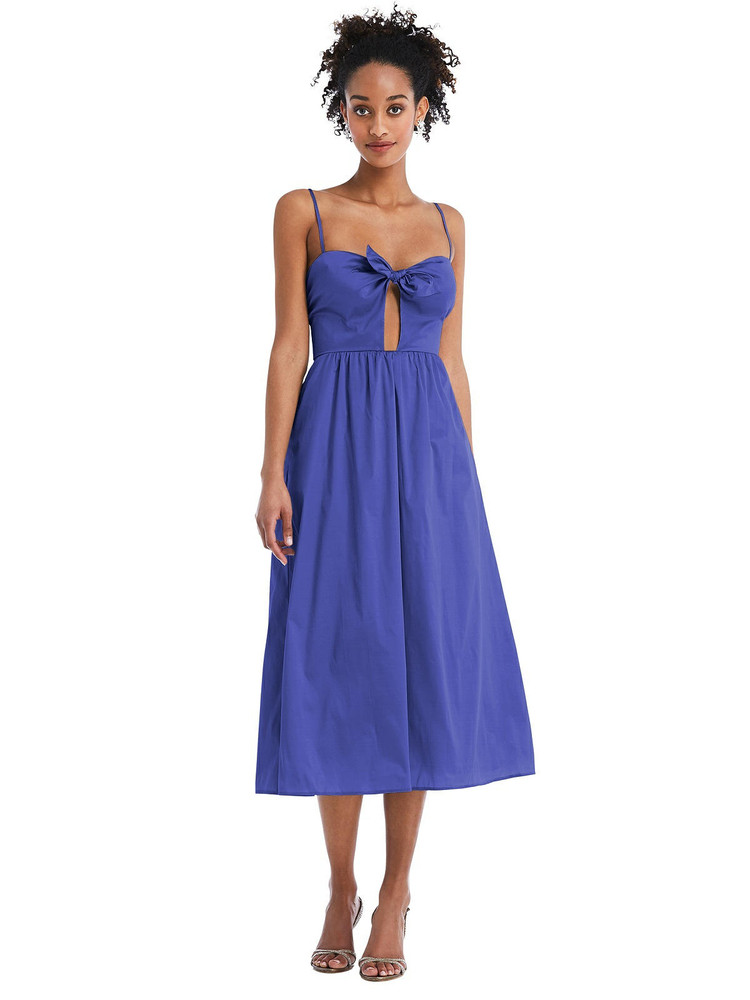 Bow-Tie Cutout Bodice Midi Dress with Pockets by Thread Bridesmaid Style TH070 in 28 colors bluebell