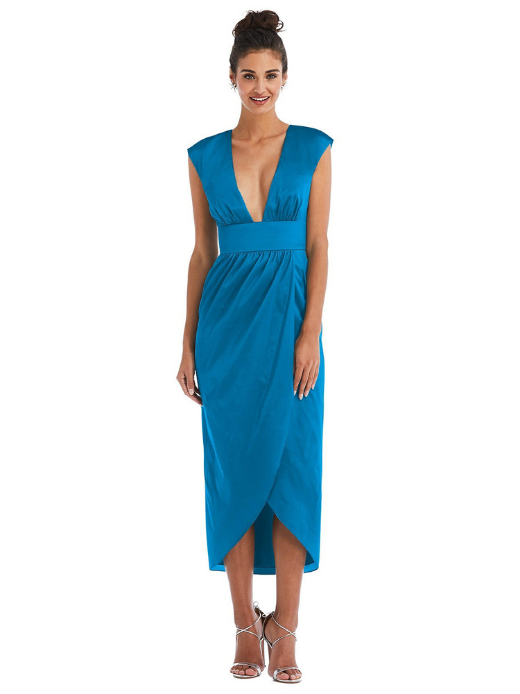 Open-Neck Tulip Skirt Madi Dress by Thread Bridesmaid Style TH071 in 28 colors in bayside