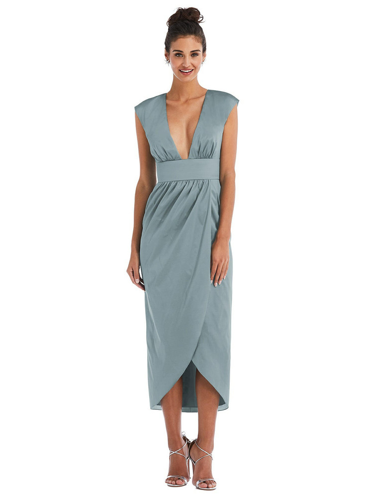 Open-Neck Tulip Skirt Madi Dress by Thread Bridesmaid Style TH071 in 28 colors in breezy