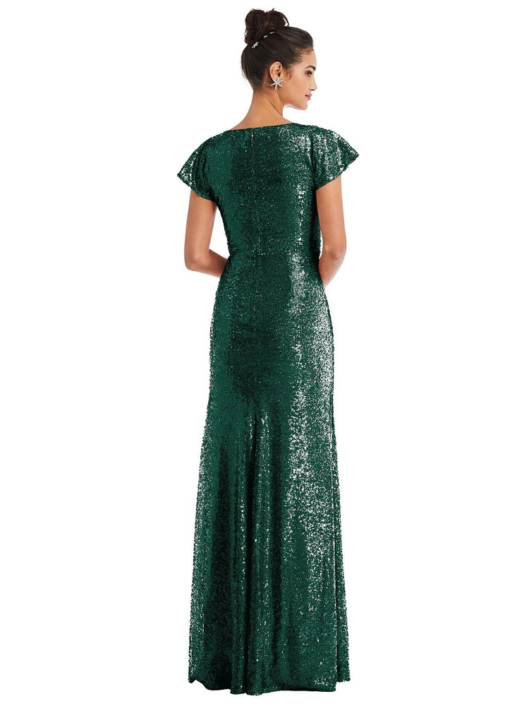 Cap Sleeve Wrap Bodice Sequin Maxi Dress by Thread Bridesmaid Style TH056 in 7 colors