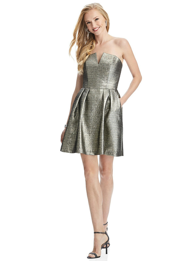 Metallic Strapless Notch Cocktail Dress with Pockets by Thread Bridesmaid Style TH024 in 4 colors in gold fusion