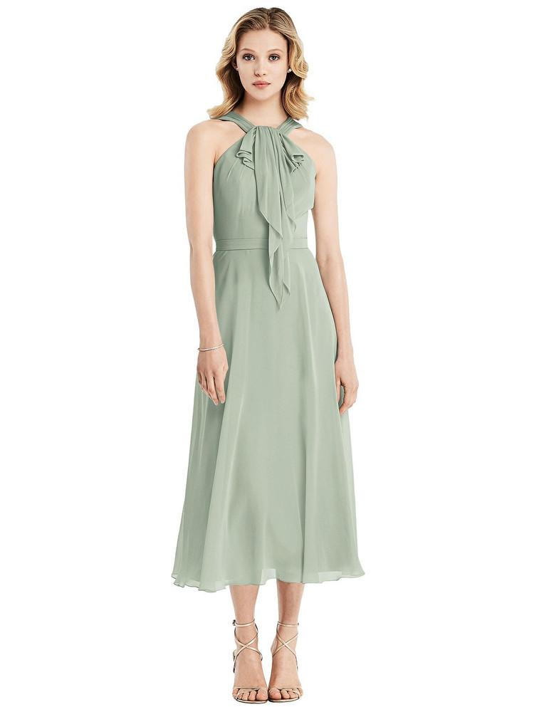 Ruffle Halter Chiffon Midi Dress by Jenny Packham Dress JP1031 in 64 colors