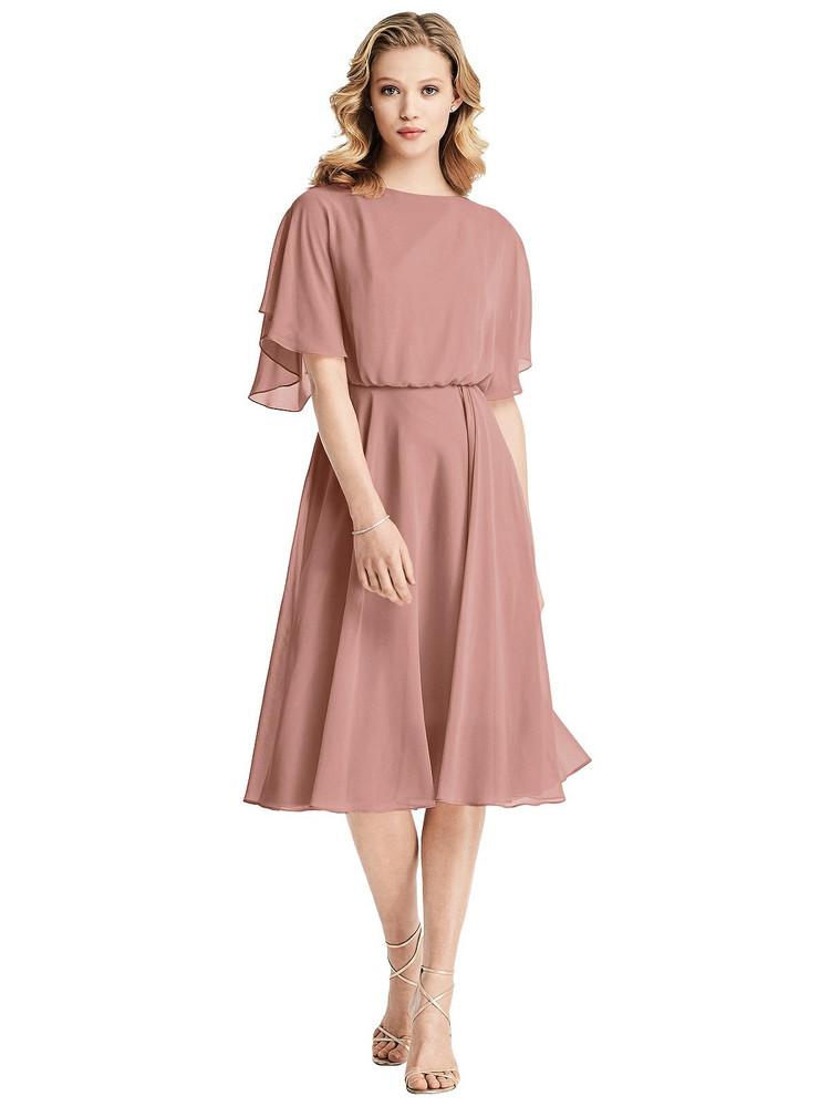 Flutter Sleeve Open-Back Maxi Dress by Jenny Packham Dress JP1035 in 64 colors