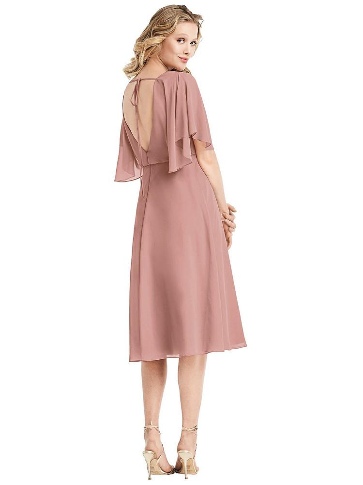 Flutter Sleeve Open-Back Cocktail Dress by Jenny Packham Dress JP1030 in 64 colors