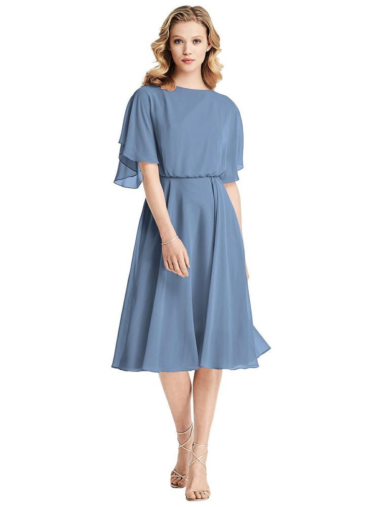 Flutter Sleeve Open-Back Cocktail Dress by Jenny Packham Dress JP1030 in 64 colors in windsor blue