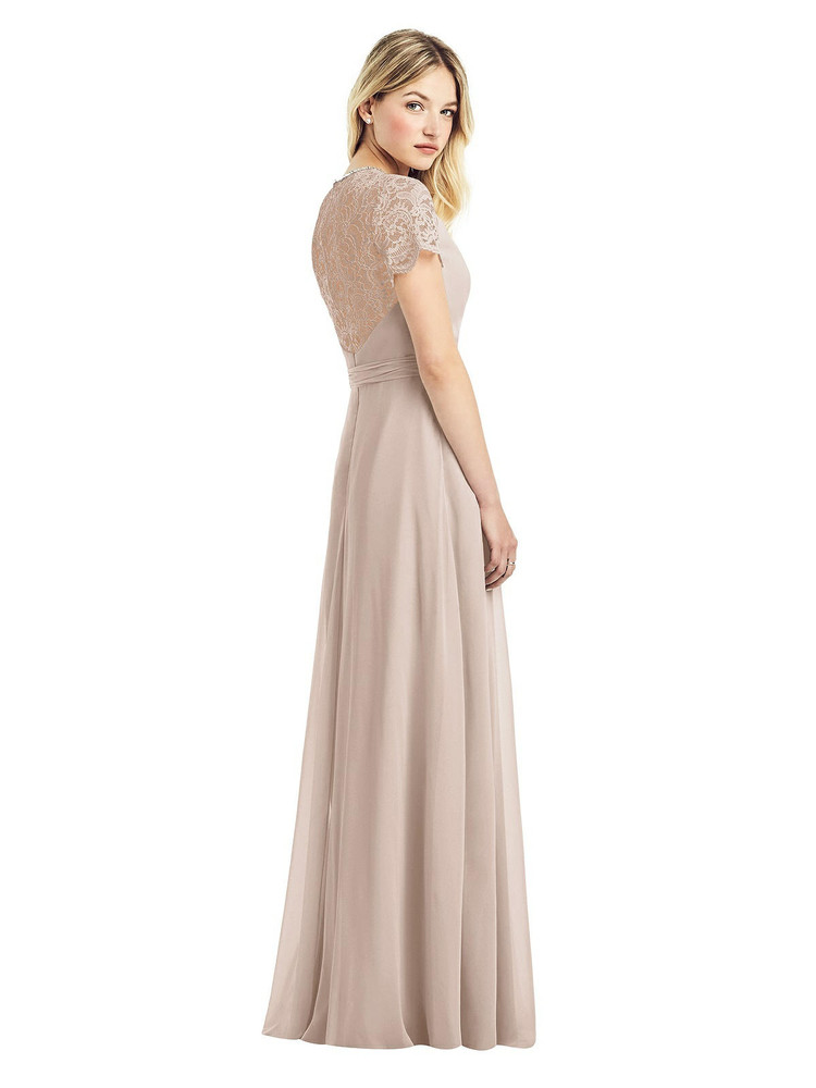 Cap Sleeve Jewel-Neck Lace and Chiffon Gown by Jenny Packham Dress JP1038 in 7 colors