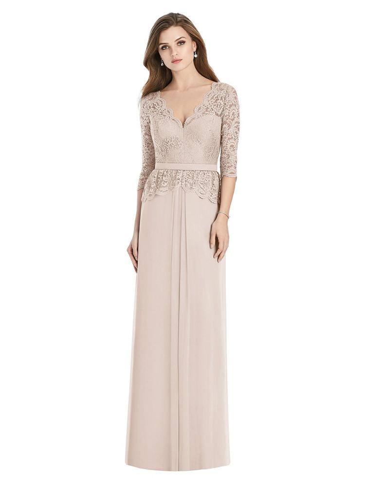 Long Sleeve Illusion-Back Lace Peplum Maxi Dress by Jenny Packham Dress JP1011 in 7 colors