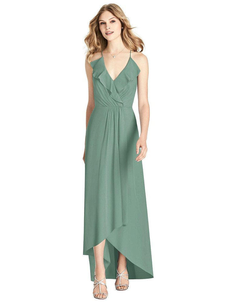 Ruffle d Wrap High-Low Maxi Dress by Jenny Packham Dress JP1006 in 64 colorsin seagrass