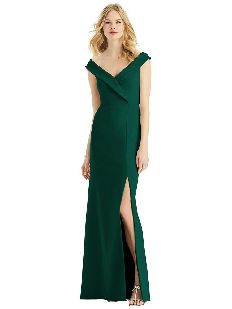 Off the Shoulder V-Neck Floor Length Crepe Sheath Dress by Bella Bridesmaids  BB112 in 33 colors