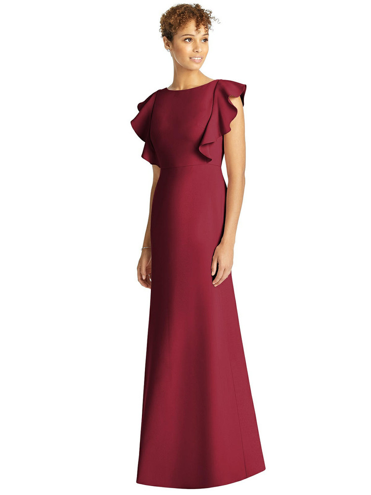 Ruffle Cap Sleeve Open-back Trumpet Gown by Studio Design 4539 in 31 colors in claret