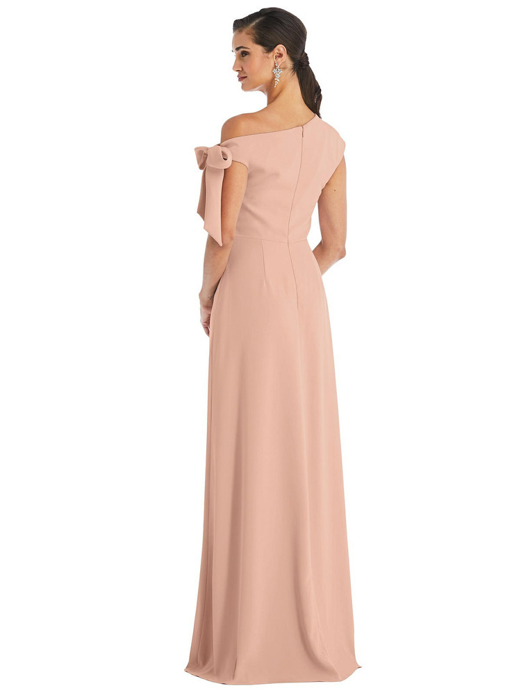 Off-the-Shoulder Tie Detail Maxi Dress with Front Slit by Dessy Bridesmaid 3074 in 35 colors