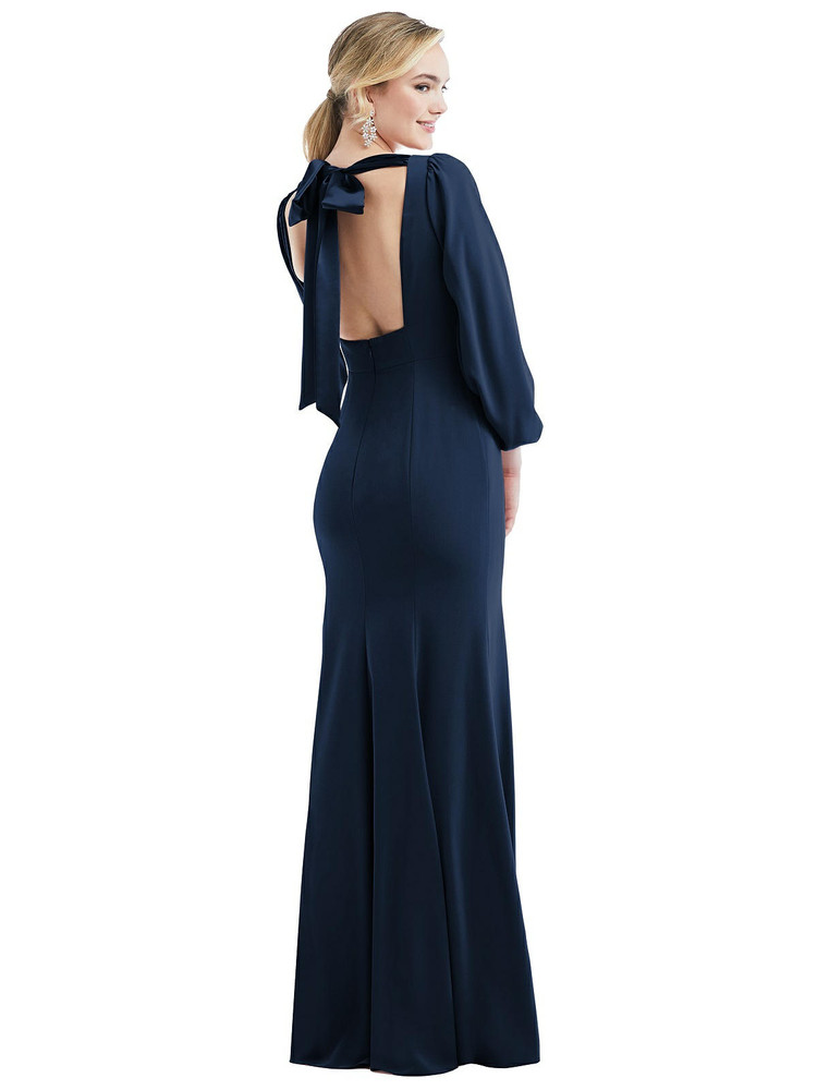Bishop Sleeve Open-Back Trumpet Gown with Scarf Tie by Dessy Bridesmaid 3086 in 35 colors