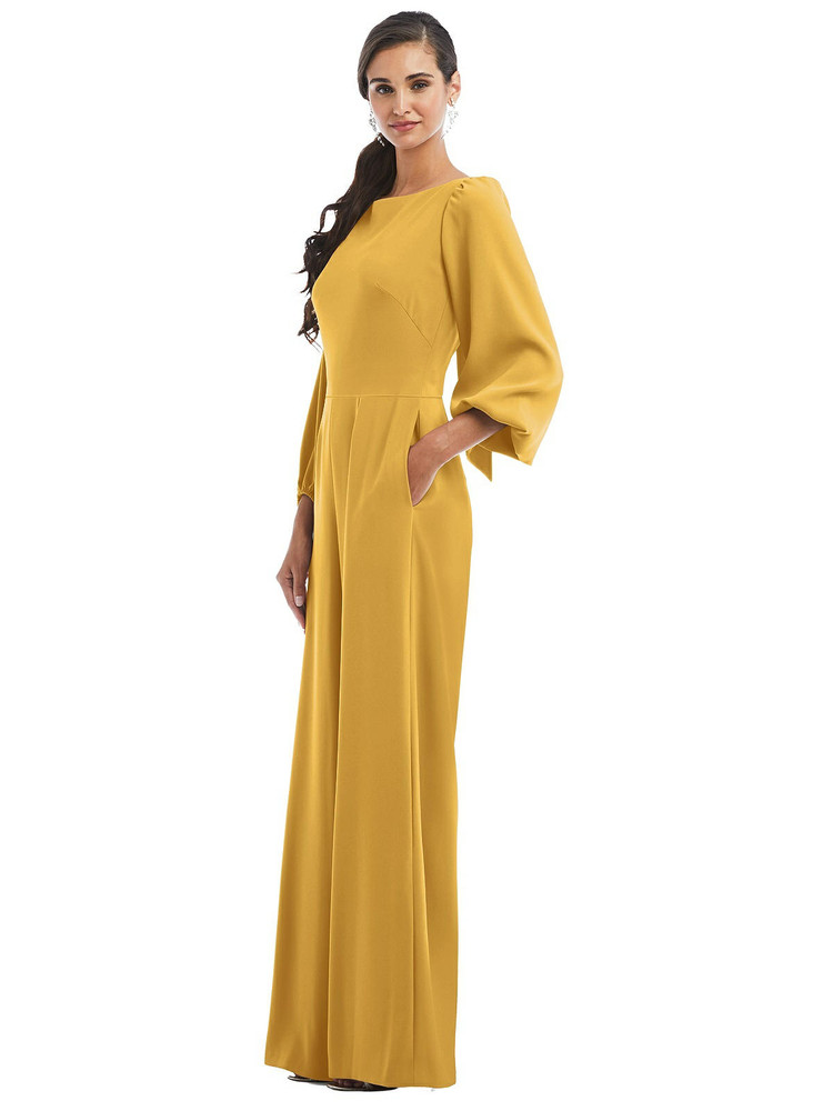 Bishop Sleeve Open-Back Jumpsuit with Scarf Ti by Dessy Bridesmaid 3087 in 35 colors