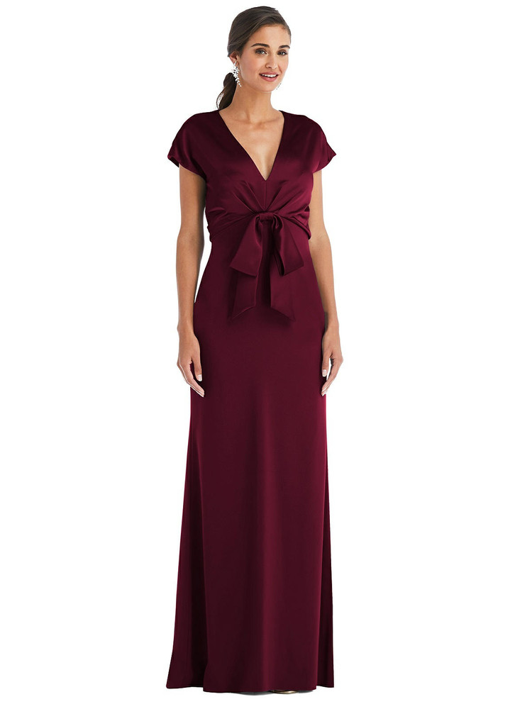 Soft Bow Blouson Bodice Trumpet Gown by Dessy Bridesmaid 3075 in 35 colors