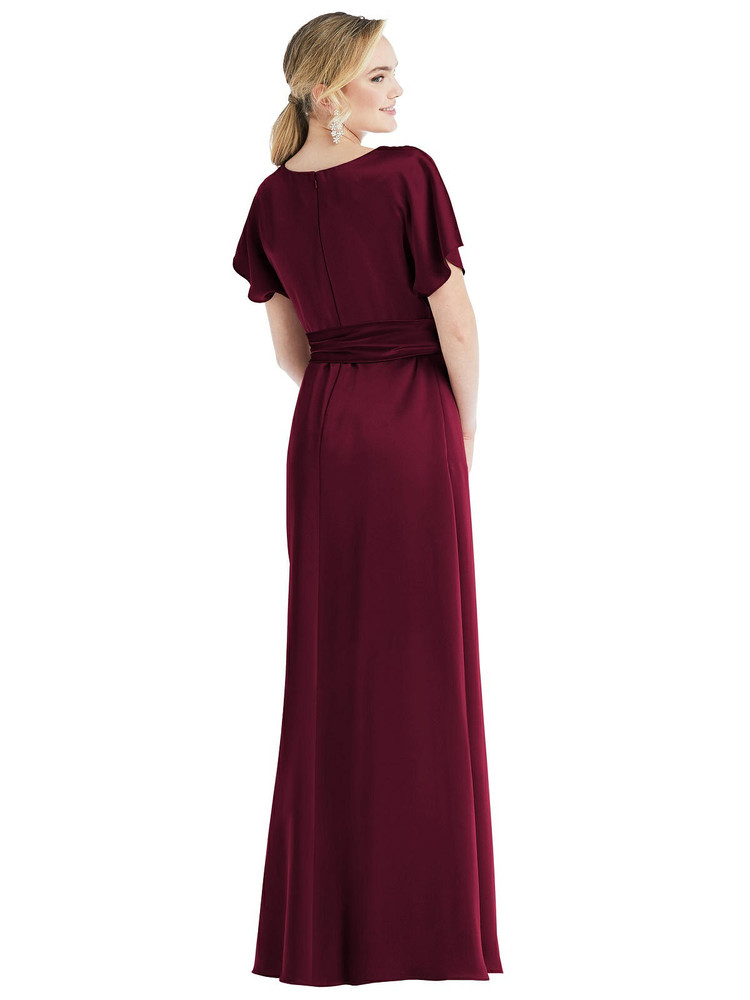 Cowl-Neck Kimono Sleeve Maxi Dress with Bowed Sash by Dessy Bridesmaid 3078 in 22 colors