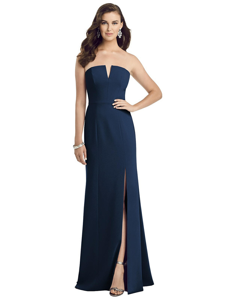 Strapless Notch Crepe Gown with Front Slit by Dessy 3062 in 35 colors