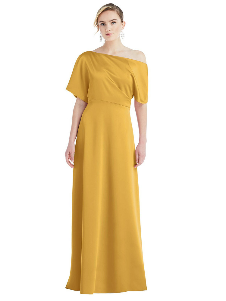 One-Shoulder Sleeved Blouson Trumpet Gown by Dessy Bridesmaid 3076 in 17 colors