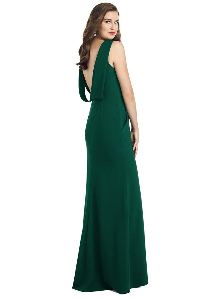 Draped Backless Crepe Dress with Pockets by Dessy Bridesmaid 3061 in 35 colors