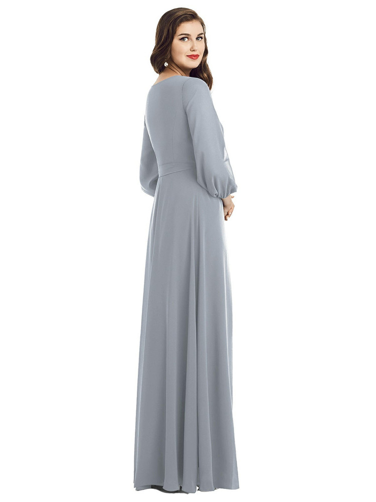 Long Sleeve Wrap Maxi Dress with Front Slit by Dessy Bridesmaid 3049 in 35 colors