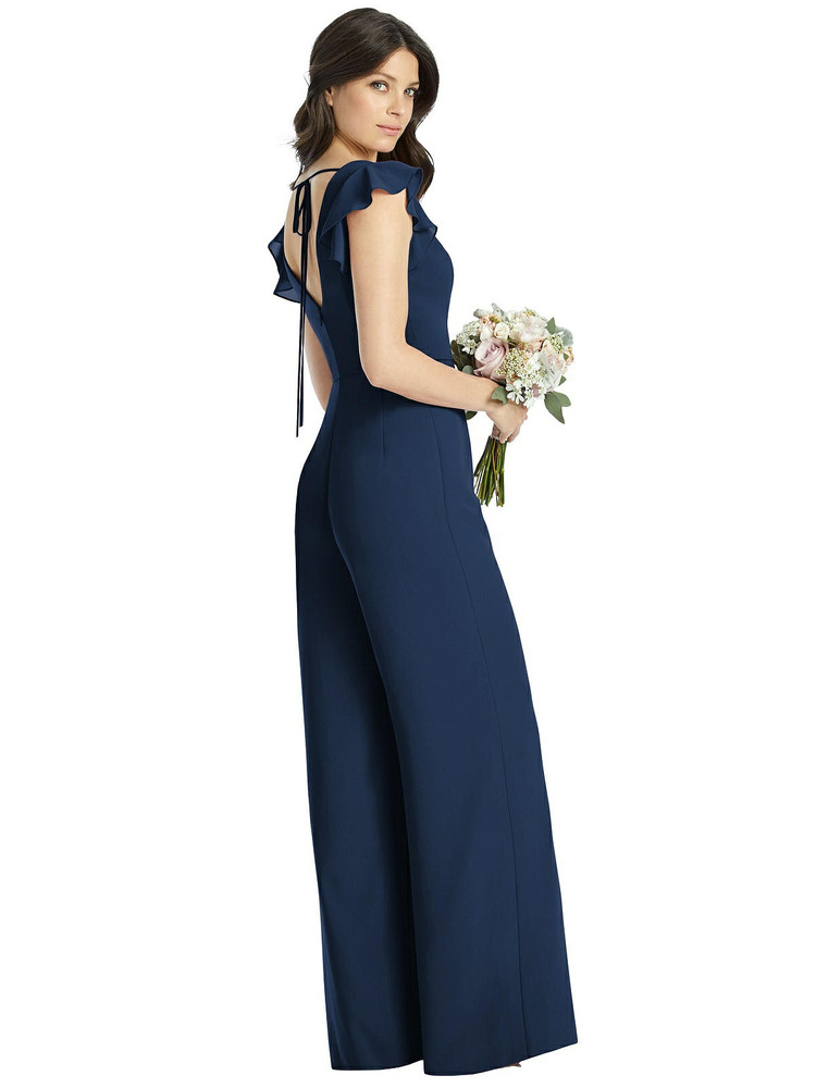 Ruffled Sleeve Low V-Back Jumpsuit - Adelaide by Dessy Bridesmaid 3047 in 34 colors