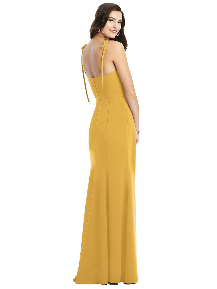 Bustier Crepe Gown with Adjustable Bow Straps Dessy Bridesmaid 3070 in 34 colors