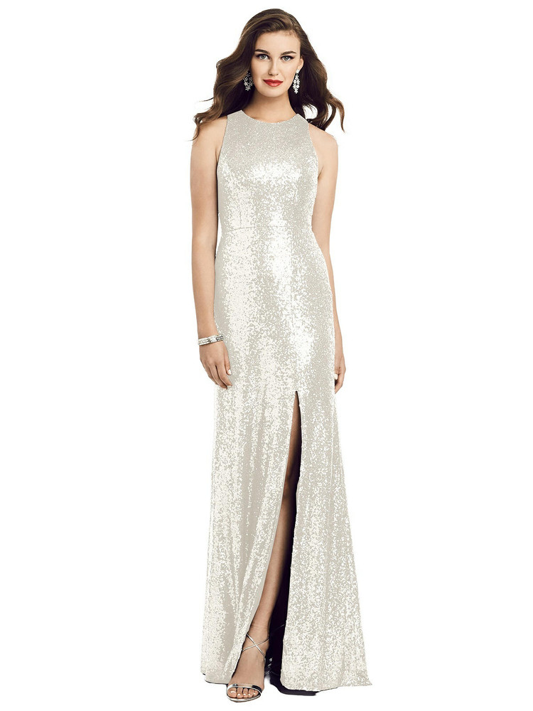 Long Sequin Sleeveless Gown with Front Slit By Dessy Bridesmaid 3053 in 7 colors