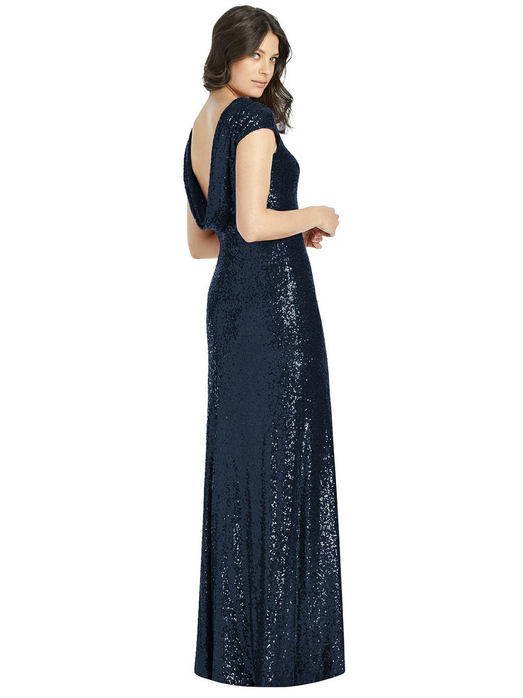 Cap Sleeve Cowl-Back Sequin Gown with Front Slit By Dessy Bridesmaid 3043 in 7 colors