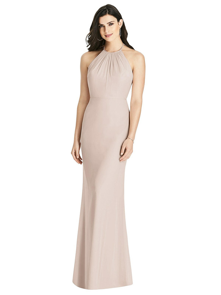 Criss Cross Ruffled Strap Halter Dress by Dessy Bridesmaid 3022 in 64 colors