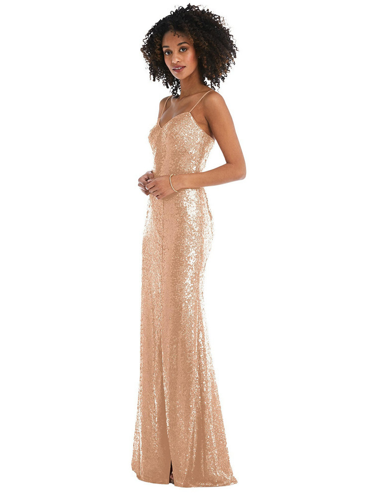 Spaghetti Strap Sequin Trumpet Gown with Side Slit By After Six 6845 in 7 colors