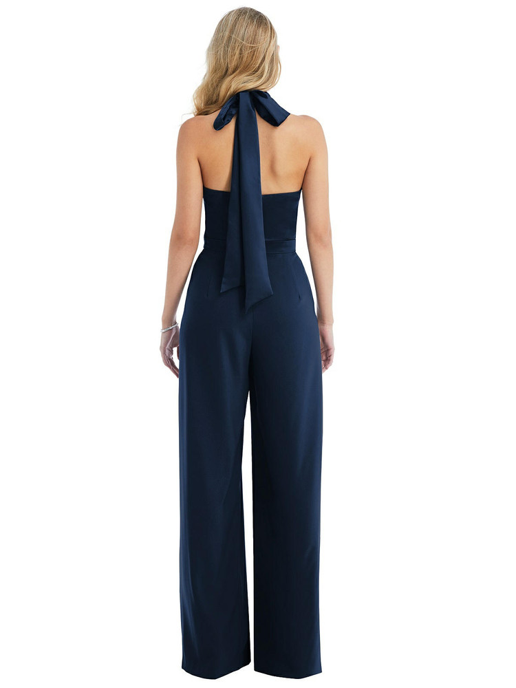 High-Neck Open-Back Jumpsuit with Scarf Tie by After Six 6835 in 35 colors