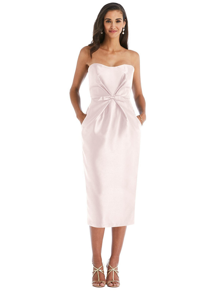 Strapless Bow-Waist Pleated Satin Pencil Dress with Pockets Alfred Sung Style D796