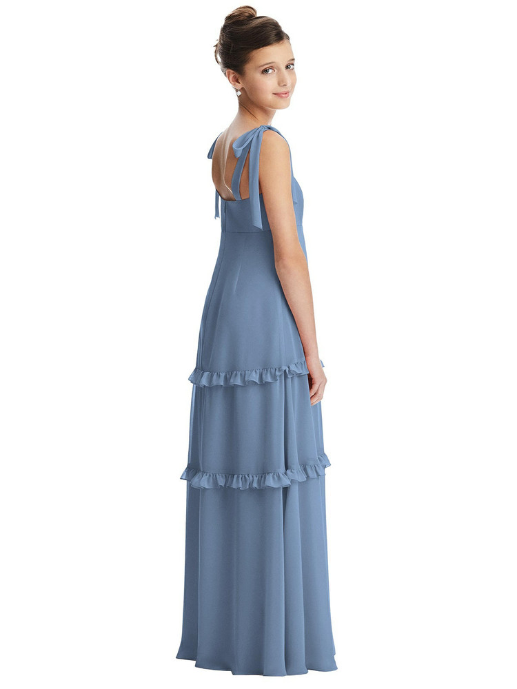 Bow Strap Juniors Dress with Tiered Ruffles Dessy Junior Bridesmaid  JR554