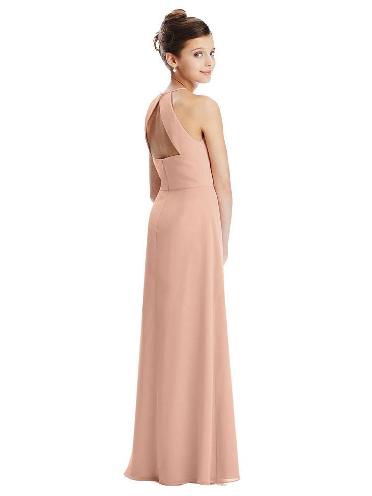 Shirred Jewel Neck Chiffon Juniors Dress Junior Bridesmaid Style JR549