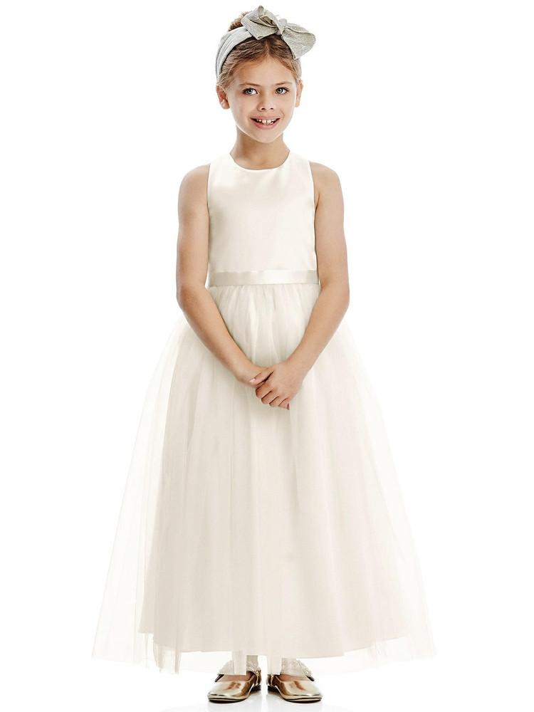 Dessy Flower Girl Dress FL4067 in Ivory & White