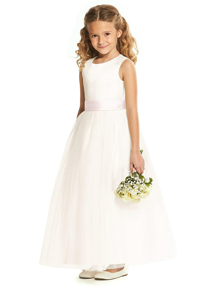 Dessy Flower Girl Dress FL4060 in Ivory with Sash