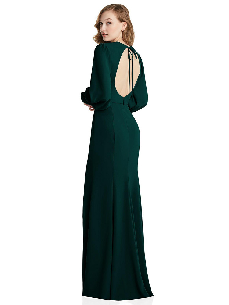 Long Puff Sleeve Maxi Dress with Cutout Tie-Back Dessy Collection Style 3089 available in 35 colors