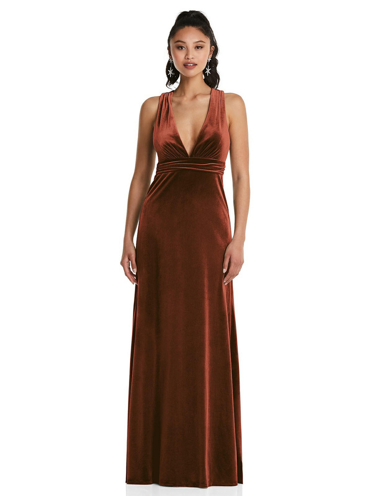 Plunging Neckline Velvet Maxi Dress with Criss Cross Open-Back Thread Bridesmaid Style TH082 in 9 colors