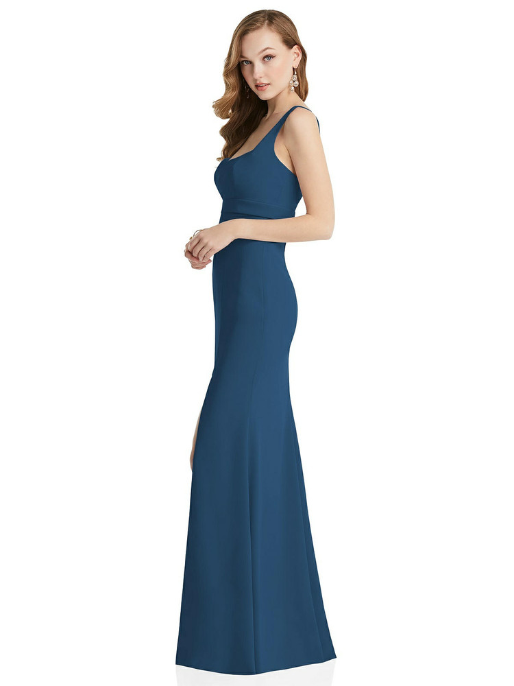 Wide Strap Notch Empire Waist Dress with Front Slit After Six Style 6838