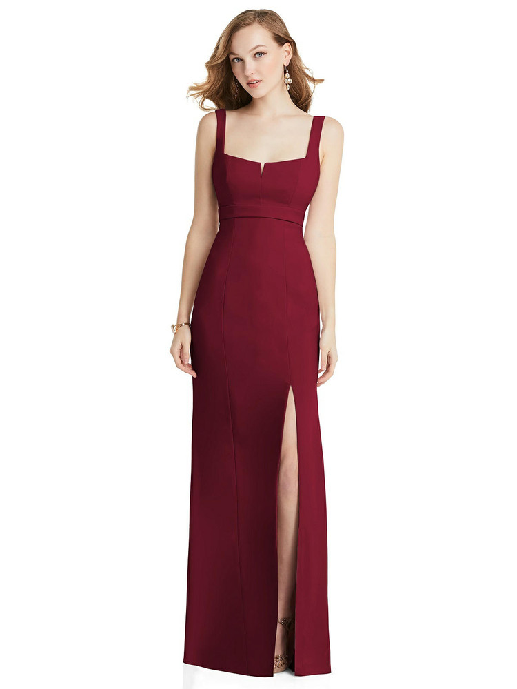 Wide Strap Notch Empire Waist Dress with Front Slit After Six Style 6838 available in 34 colors