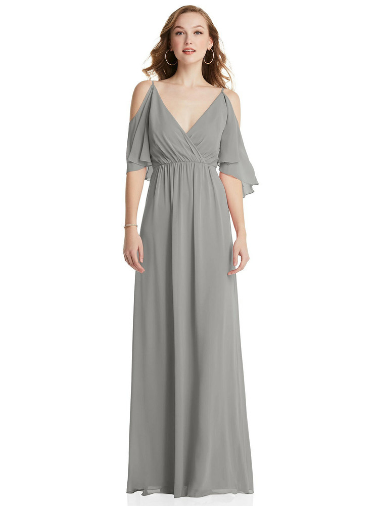 Convertible Cold-Shoulder Draped Wrap Maxi Dress After Six Style 1547 available in 64 colors