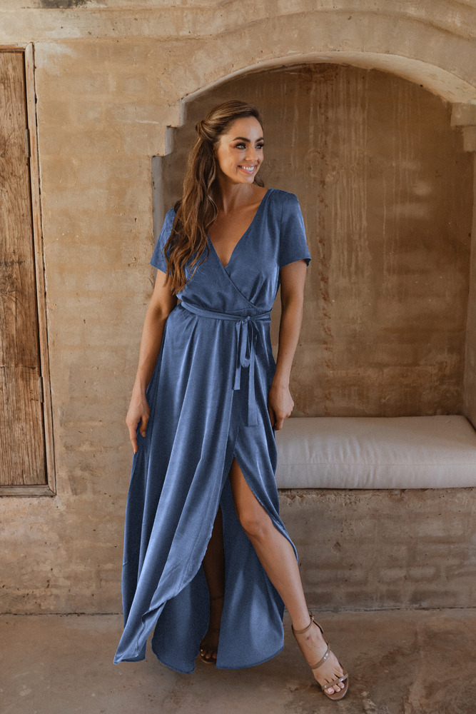 Chester TO866 Bridesmaids Dress by Tania Olsen in Dusty Blue