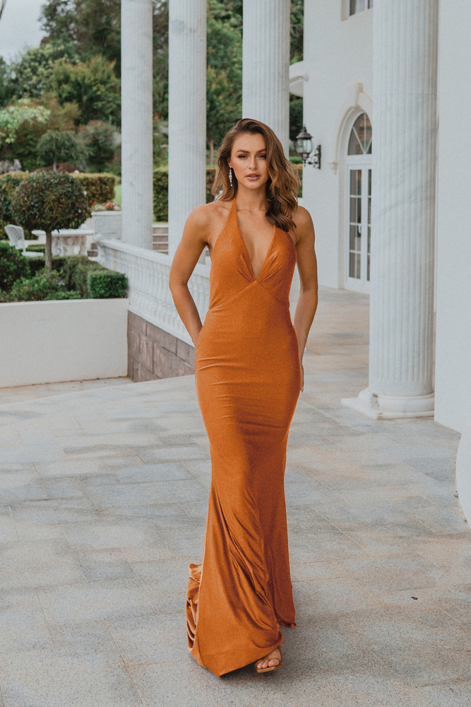 Genoa PO899 Evening Dress by Tania Olsen in Burnt Orange