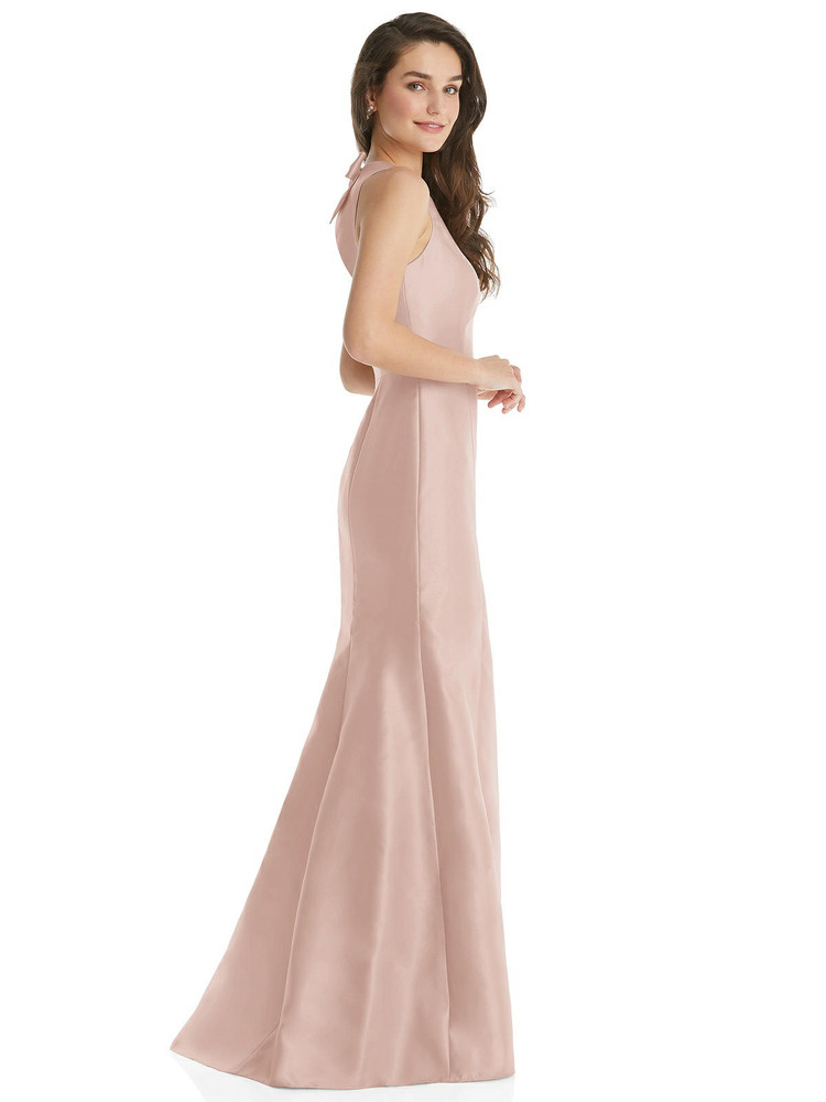 Jewel Neck Bowed Open-Back Trumpet Dress with Pockets by Alfred Sung Style D823