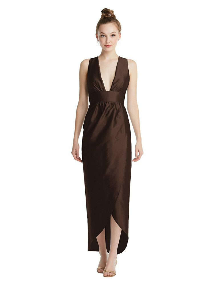 Plunging Neckline Shirred Tulip Skirt Midi Dress TH074 By Thread Bridesmaids in 32 colors