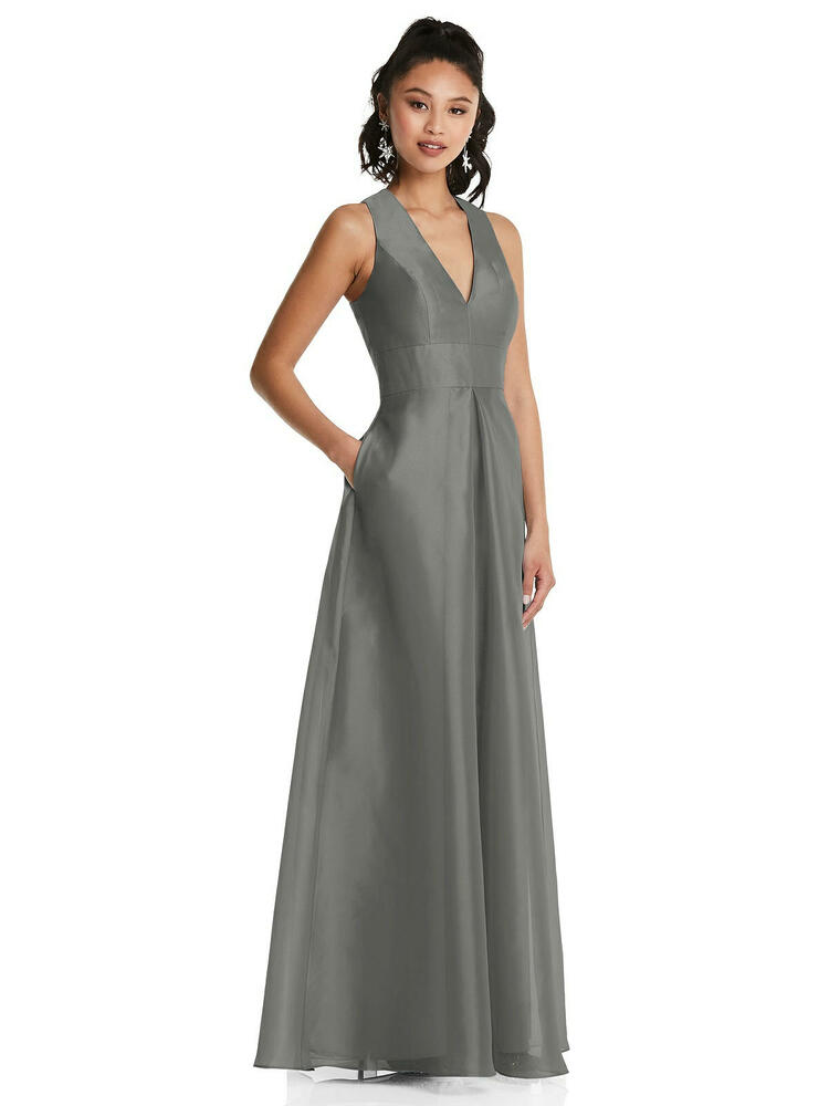 Plunging Neckline Pleated Skirt Maxi Dress with Pockets TH068 By Thread Bridesmaids in 22 colors