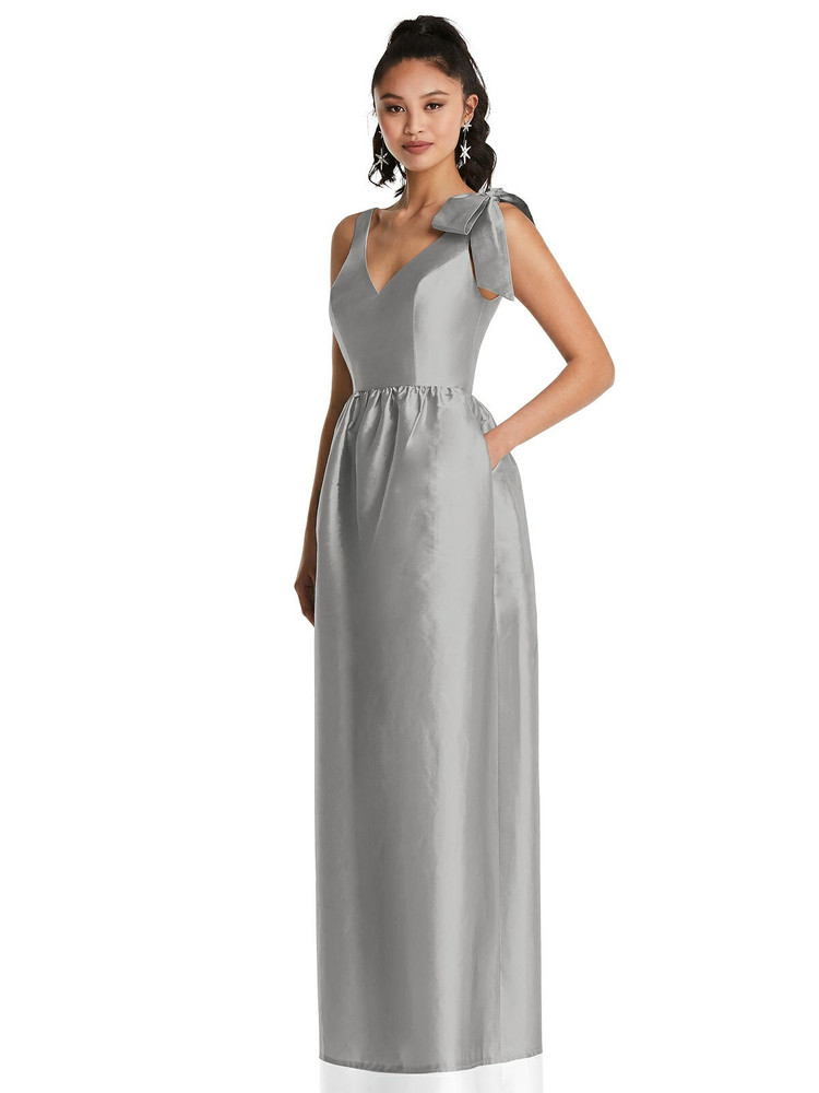 Bowed-Shoulder Full Skirt Maxi Dress with Pockets TH078  By Thread Bridesmaids in 32 colors